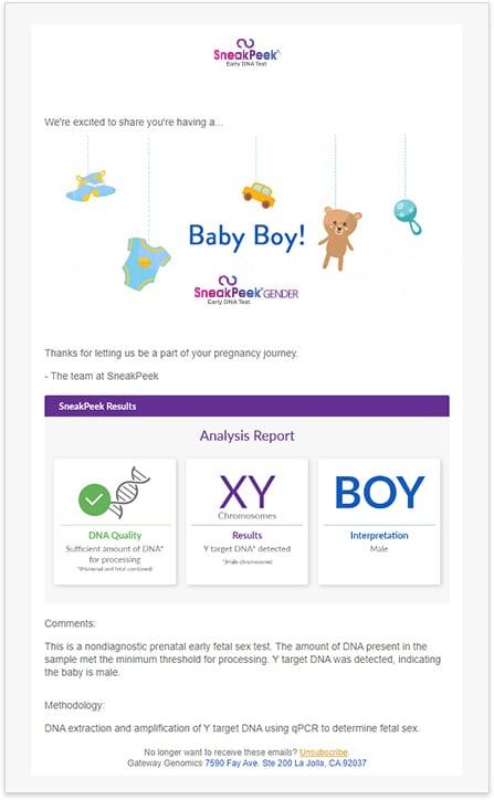 SneakPeek Gender Test Results Email - Boy