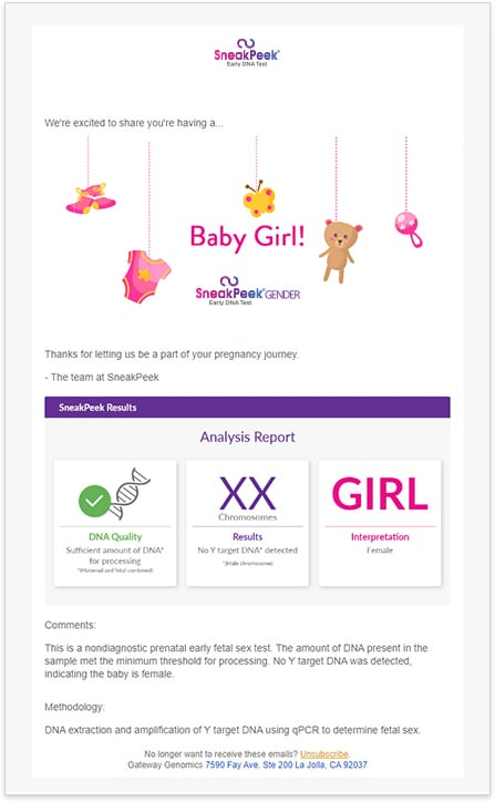 SneakPeek Gender Test Results Email - Girl
